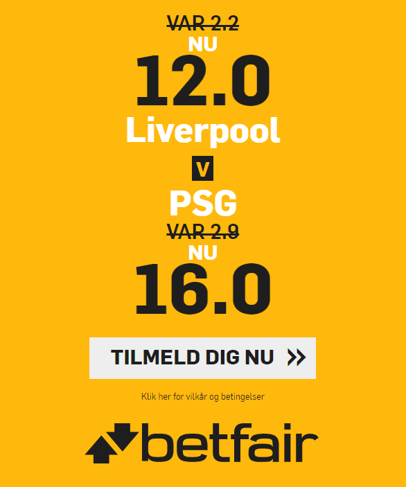 Få odds 12 på Liverpool og odds 16 på PSG hos betfair