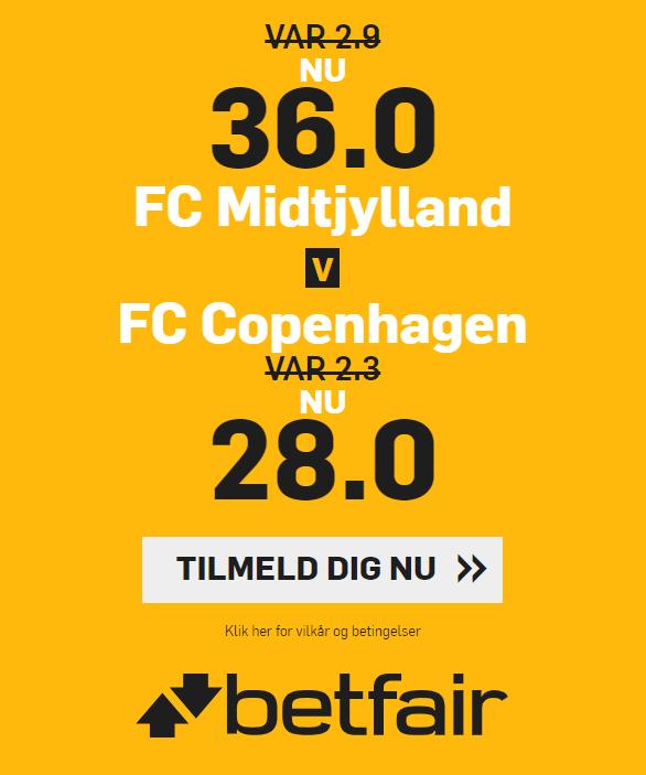 Få odds 36 på FC Midtjylland og 28 på FC København hos betfair