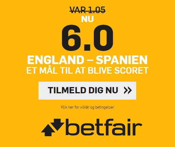 Få odds 6 på der bliver scoret i England mod Spanien