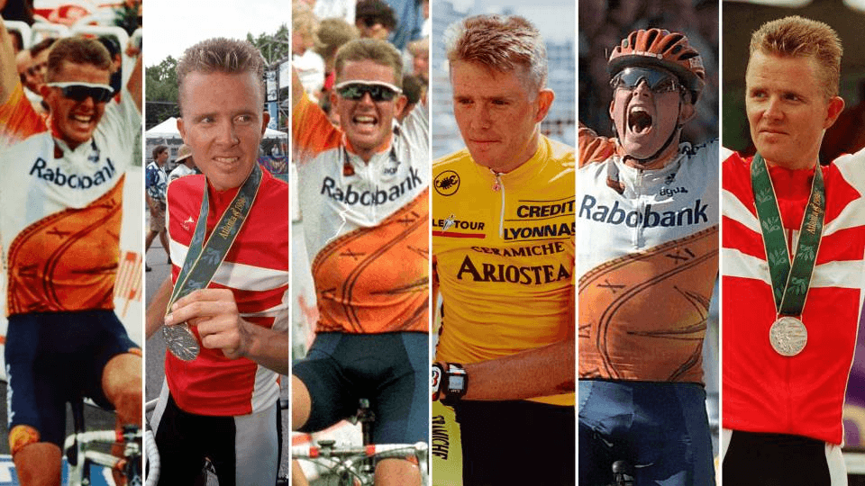 Rolf Sørensen under sin tid som cykelrytter. På billedet ses seks forskellige højdepunkter fra hans karriere.