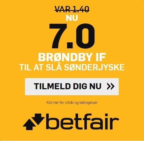 Bookmakertilbud fra betfair Sportsbook, hvor nye spillere kan få forhøjet deres odds på Brøndby-sejr til 7 over SønderjyskE