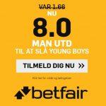 Bookmakertilbud fra betfair Sportsbook, hvor nye spillere får odds 8 på en Man Utd-sejr over Young Boys i Champions League