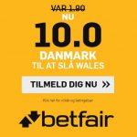 Kæmpe oddsboost: Få odds 10 på Danmark imod Wales og vind 500 kr.