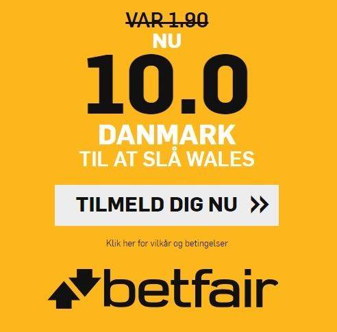 Bookmakerkampagne fra betfair, hvor nye spillere får odds 10 på dansk sejr over Wales
