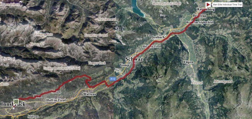 Rutekort over VM i enkeltstart 2018, der køres i de østrigske bjerge den 26. september.
