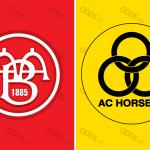 Officielle klublogoer for Aalborg BK og AC Horsens