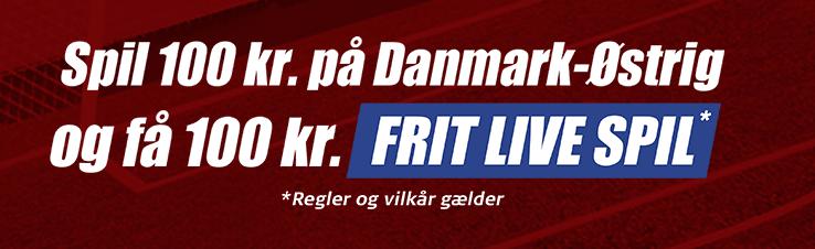 Få et 100 kroner live free bet på Danmark - Østrig hos Danske Spil