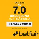 Nye kunder hos betfair kan få odds 7 på Barça-sejr over Sevilla