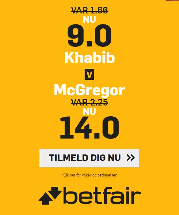 Få forhøjede odds på Khabib vs. McGregor hos betfair