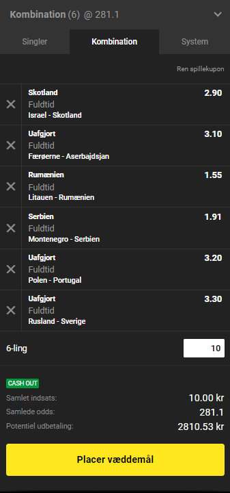 Eksempel på en UEFA Nations League-oddskupon hos Unibet
