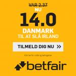 Sådan kan du få odds 14 på Danmark slår Irland hos betfair