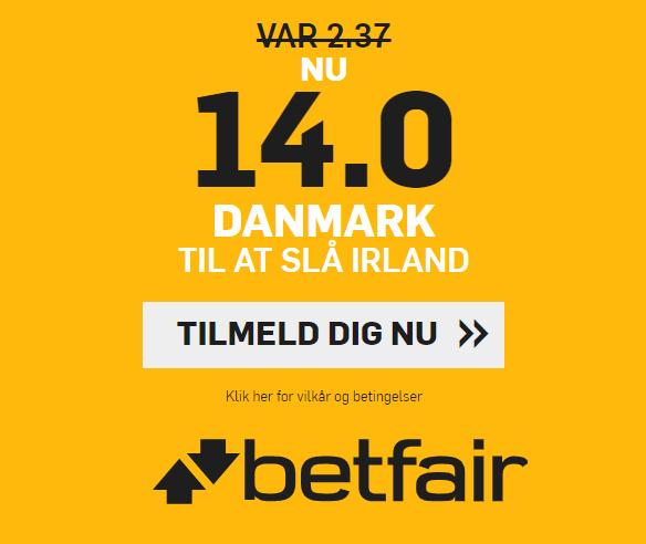 Få odds 14 på dansk sejr over Irland
