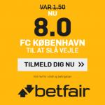 Få odds 8 på FC København tager tre point mod Vejle
