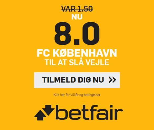 Få odds 8 på FCK tager tre point mod Vejle hos betfair