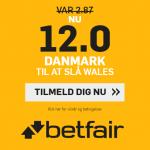 Bliv klar til landskampen hos betfair: Få odds 12 på Danmark slår Wales