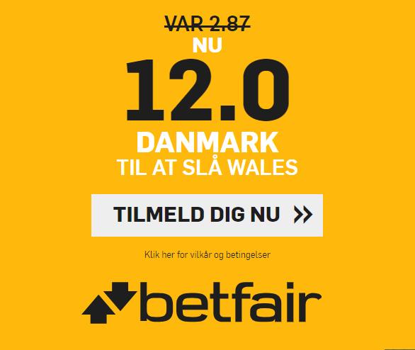 Bookmakeren betfair giver alle nye kunder odds 12 på dansk sejr over Wales