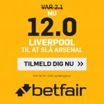 betfair giver alle nye kunder odds 12 på Liverpool-sejr over Arsenal
