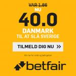 Få odds 40 på dansk sejr mod Sverige