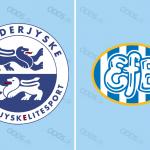 Officielle klublogoer for SønderjyskE og Esbjerg fB