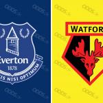 Officielle klublogoer for Everton og Watford