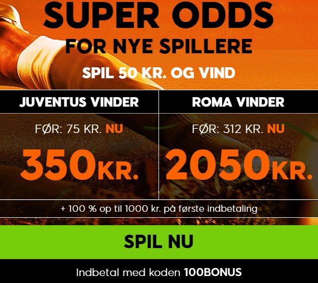 Få odds 41 på Roma slår Juventus hos 888sport