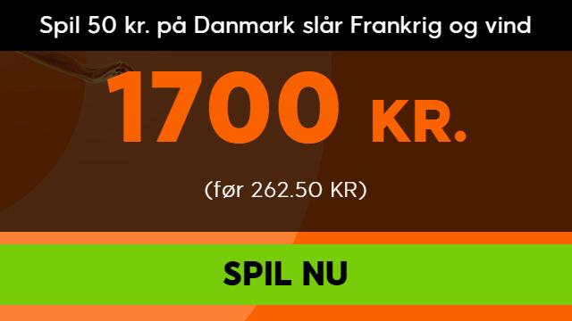 Få odds 34 på dansk sejr over Frankrig hos 888sport