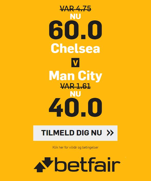 betfair giver nye kunder odds 60 på Chelsea og 40 på Manchester City