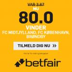 Superliga-bombe hos betfair: Få odds 80 på sejr til FCM, FCK og BIF