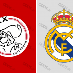 Officielle klublogoer for Ajax Amsterdam og Real Madrid