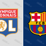 Officielle klublogoer for Olympique Lyon og FC Barcelona