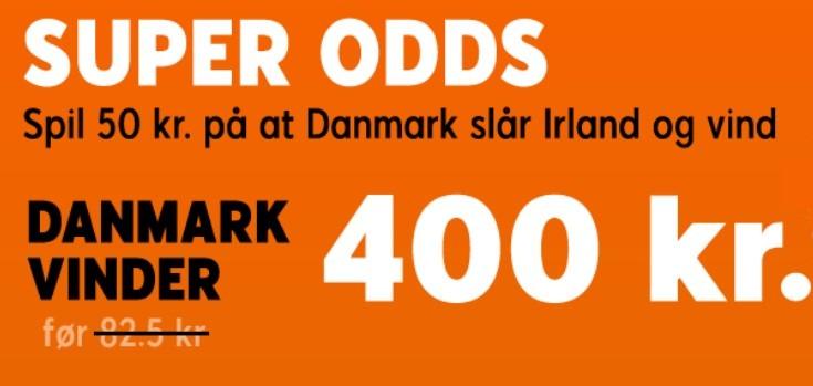 Bookmakertilbud fra 888sport, der giver odds 8 på dansk sejr over Irland