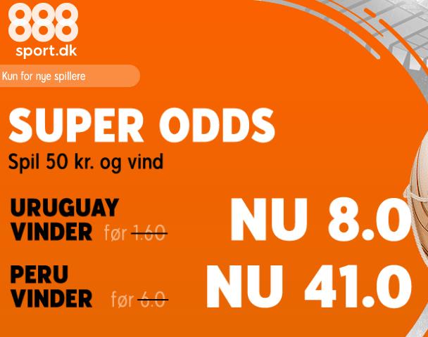 888sport giver super odds på kampen mellem Uruguay og Peru, da der er forhøjede odds på begge hold.