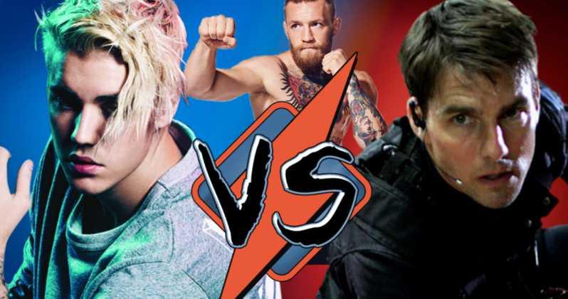 Justin Bieber vs Tom Cruise med Conor McGregor i baggrunden