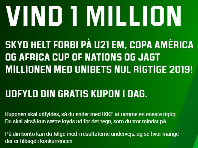 Hos Unibet kan man vinde en million kroner ved at gætte forkert i 48 fodboldkampe i 2019