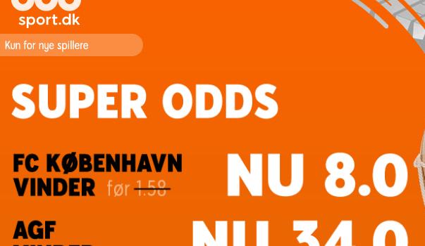 Spil 50 kr. hos 888 og få odds 34 hvis AGF vinder over FC København!