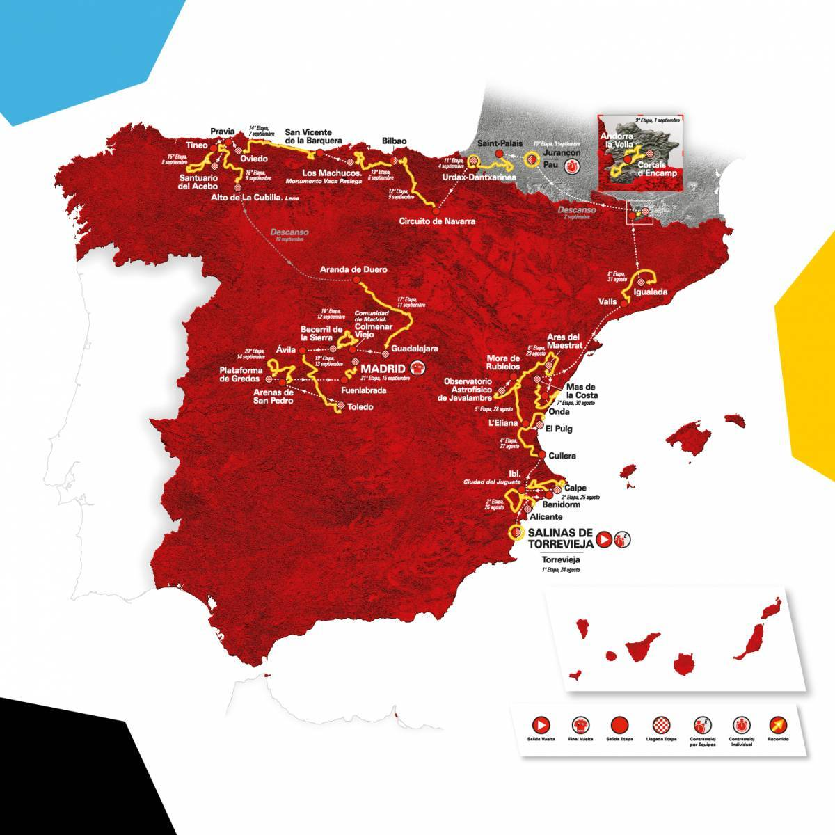 Ruten til Vuelta a Espana 2019, der køres i Spanien i mellem august og september.
