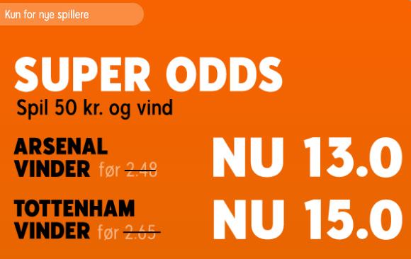 Forhøjet odds fra 888, der giver odds 13 på Arsenal og odds 15 på Tottenham i North London Derby søndag.