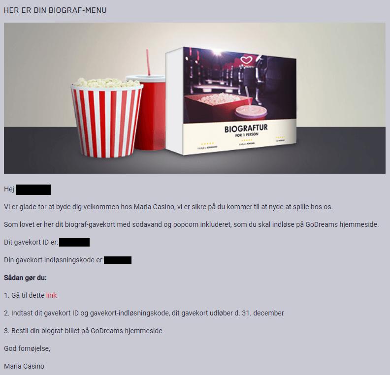 Screenshot fra Maria Casino, der viser en spiller, der har fået en gratis biograftur.