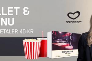 Kampagneside for Maria Casino, hvor nye spillere kan få en biograftur med alt betalt ved at indbetale 40 kroner hos casinoet.
