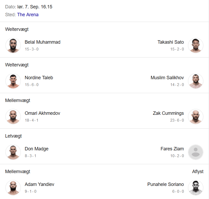 Fight Card ved UFC 242 i Abu Dhabi, der viser Khabib vs Poirier