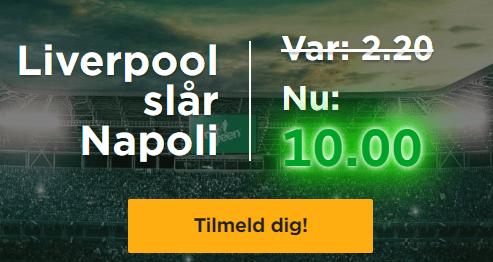 oddsboost på Napoli Liverpool fra Mr Green