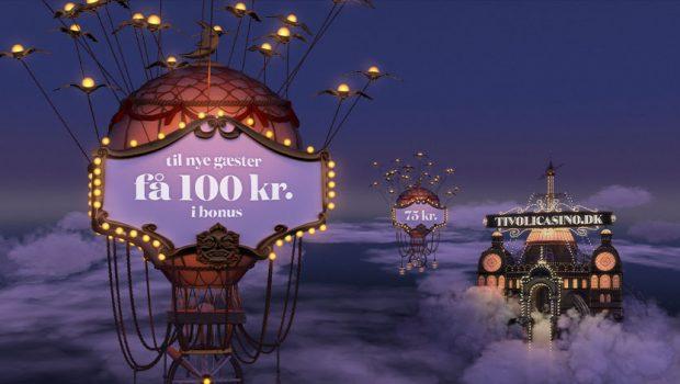 Spin dig til 50 chancer hos Tivoli Casino + 100 kr. gratis i velkomstbonus
