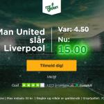 Spil på Manchester United sejr til odds 15 som ny kunde!