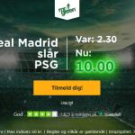 Spil på Real Madrid sejr over PSG til odds 10 som ny kunde hos Mr Green!