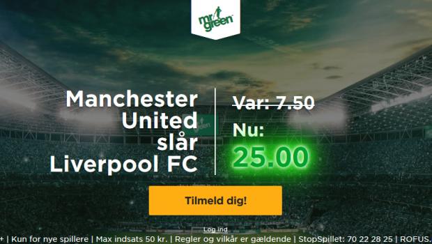 Få vanvittige odds 25 på Manchester United sejr over Liverpool FC hos Mr Green!
