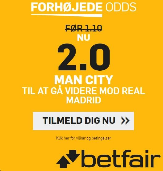 Betfair kampagne for Manchester City-Real Madrid
