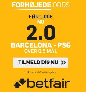 Odds boost fra betfair på Barcelona - PSG i Champions League.