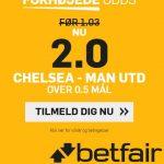 Få odds 2,00 på scoring i Manchester United – Chelsea med Betfair